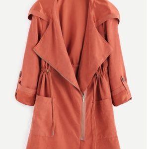 Brick Red Suede Asymmetric Zip Hooded coat